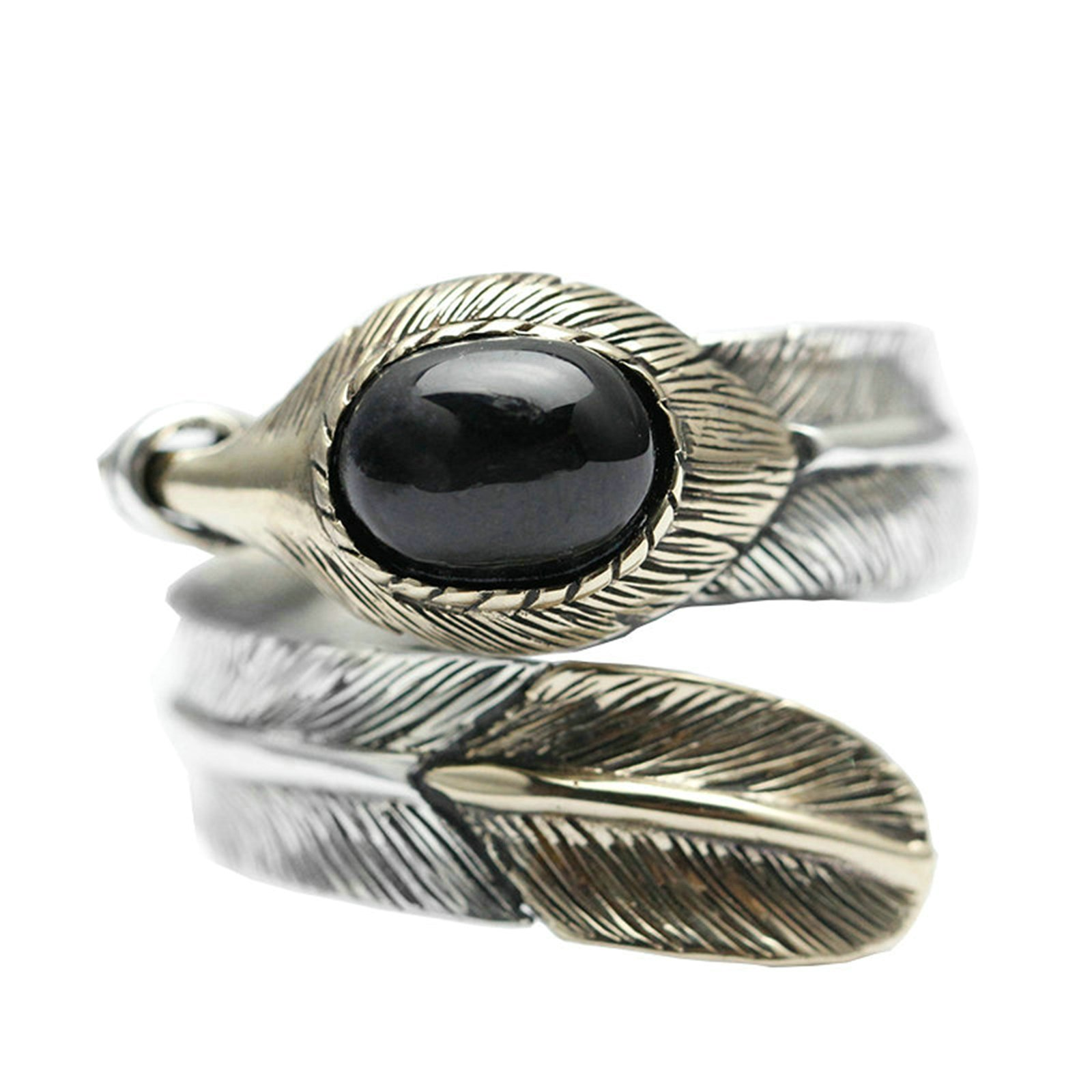 Adisaer Biker Rings Silver Ring for Men Obsidian Feather Open Ring Adjustable Size 8 Vintage Punk Jewelry