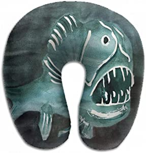 Emvency U-Shaped Travel Neck Support Pillow Evil Fish Dark Water Angry Airplane 12x11.5 Inch Soft U-Pillows with Rebound Material for Kids Adults