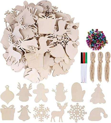 60 Pieces Unfinished Wooden Ornaments