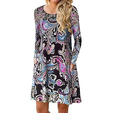 c09ccc4e45 Women s Casual Dresses Long Sleeve Boho Print Mini Dress Fashion Tunic  Pullover Sweatshirt Jumper T-