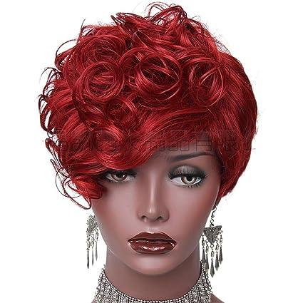 JIAFA 10 Corto Rizado Cabello Pelucas para Negro Mujer Mullido Ondulado Negro/Rojo