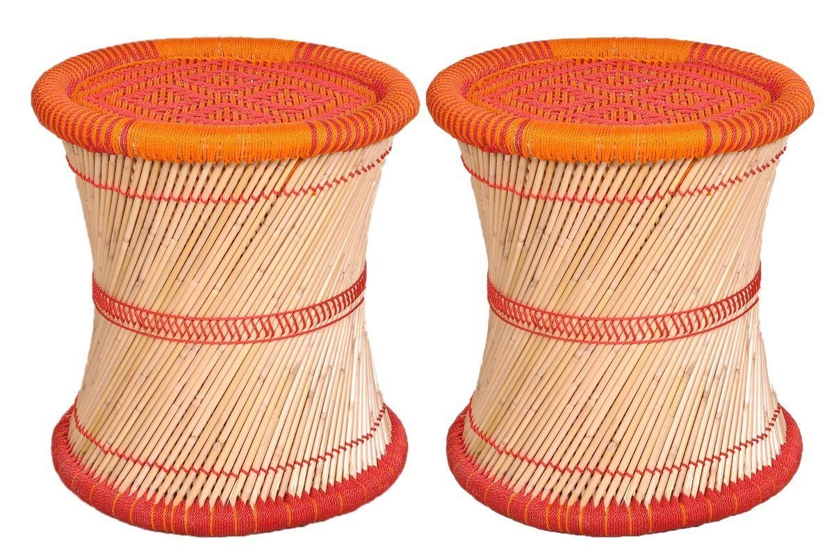 65d67af40 Virasat Furniture   Furnishing Single Cane Bar Bamboo Stool Muddha For  Outdoor Indoor Furnishing Color  Multi  Amazon.in  Electronics
