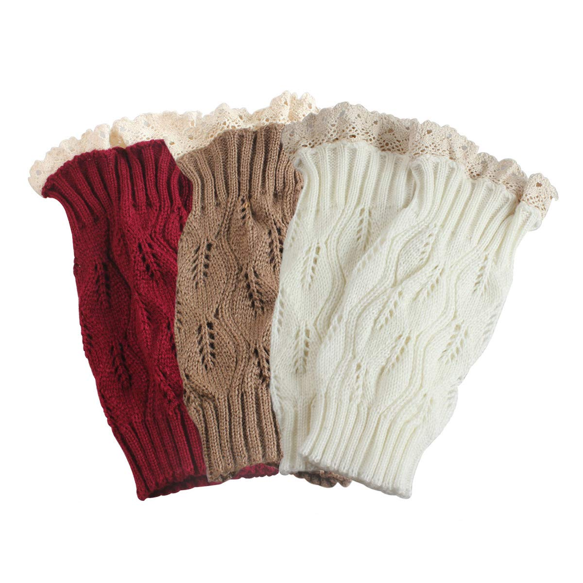 TQS™ Set of 3 Knit Boot Topper Cuff Leg Warmer Bootsock Lace Crochet Detail,Red/Khaki/White,Medium