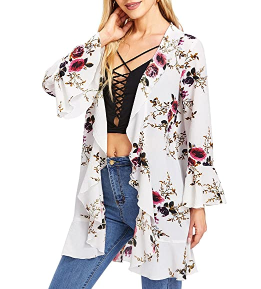 b90507ee7 Romwe Women s Floral Cardigan Kimono Beach Cover up Loose Blouse at ...