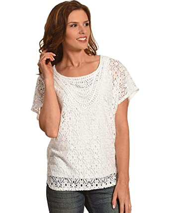 32b0ff493576b Ruby Rd. Women s Scoop Neck Lace Butterfly Top White Medium at Amazon  Women s Clothing store