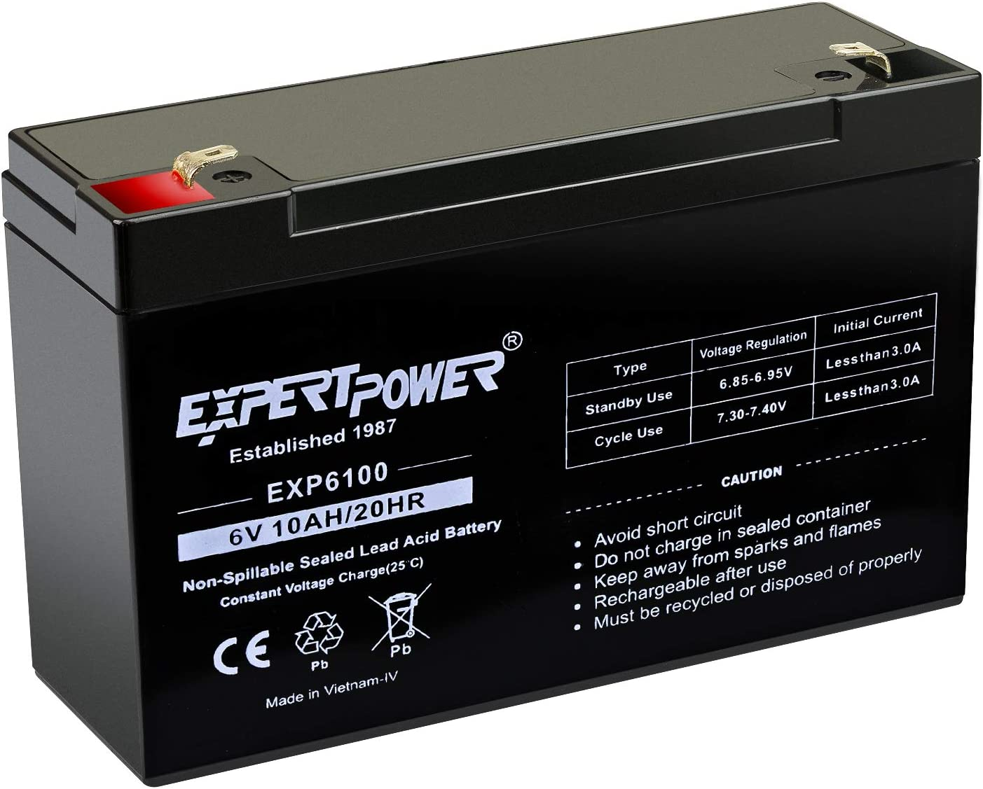 Pack ExpertPower 6V 10AH Sealed Lead Acid SLA Battery with F1 Terminal 10