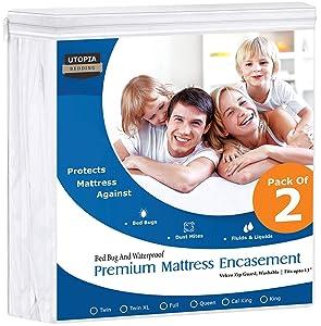 Utopia Bedding Premium Zippered Waterproof Mattress Encasement (Pack of 2, Full)