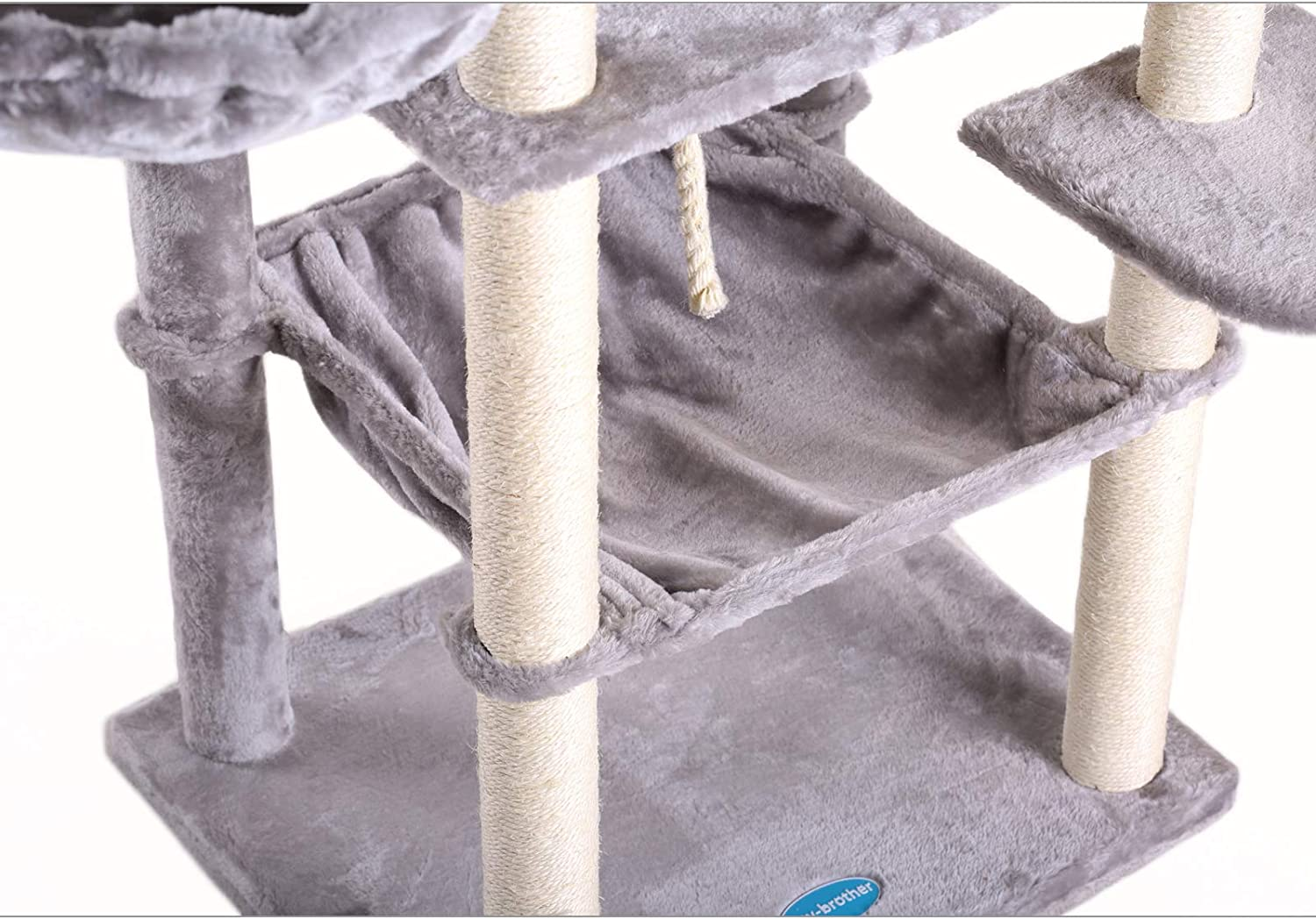 Padded Platform Hammock and Cave Anti-toppling Devices Cat Condos with Sisal Poles Hey-Brother Extra Big Cat Tree with Feeding Bowl Climbing Tree for Cats