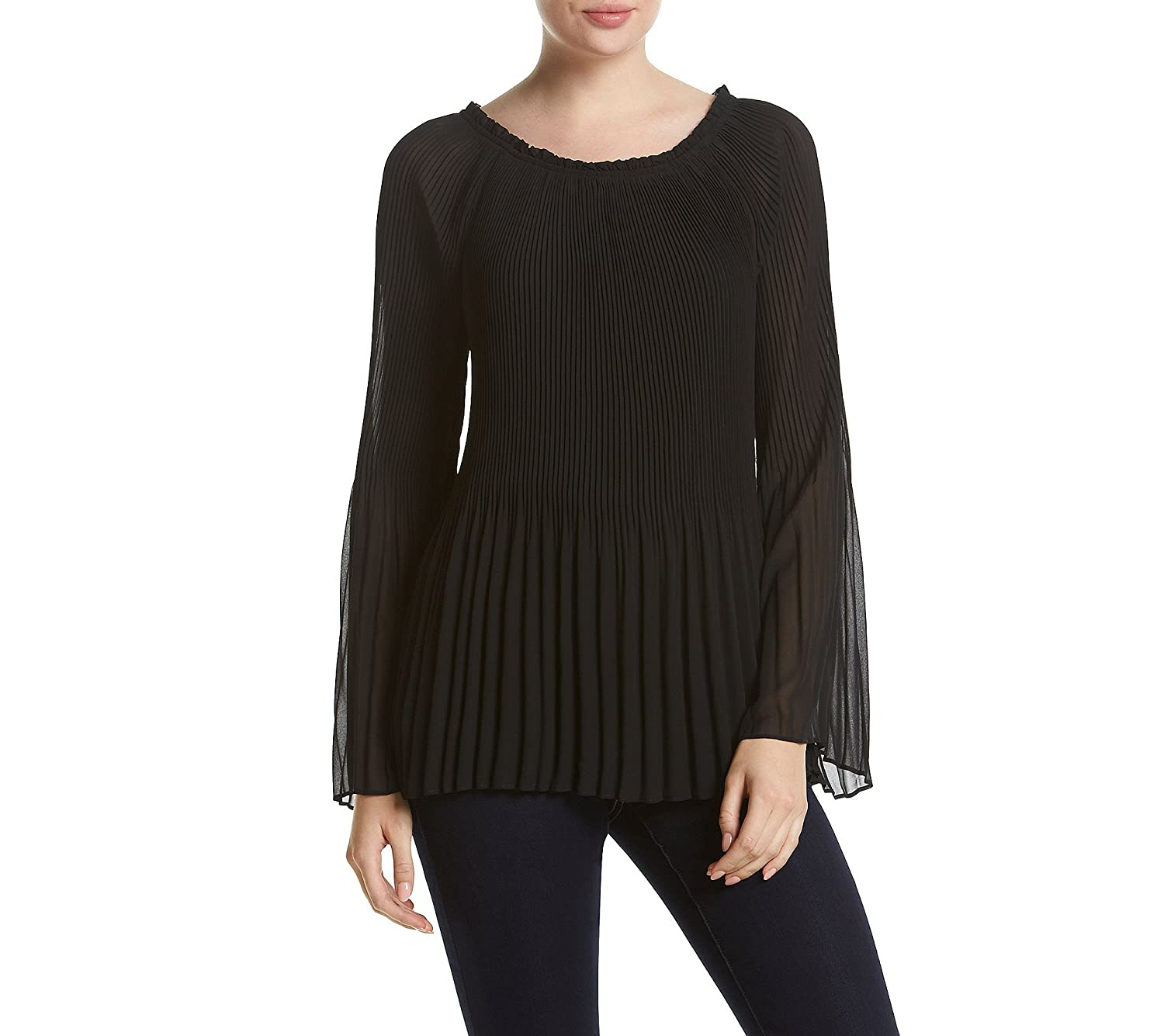 AGB Pleated Bell Sleeve Top
