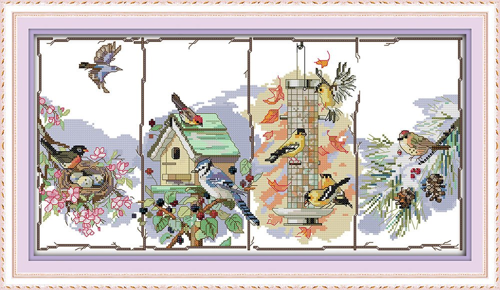The birds of the four seasons Happy Forever Cross Stitch Animals D853
