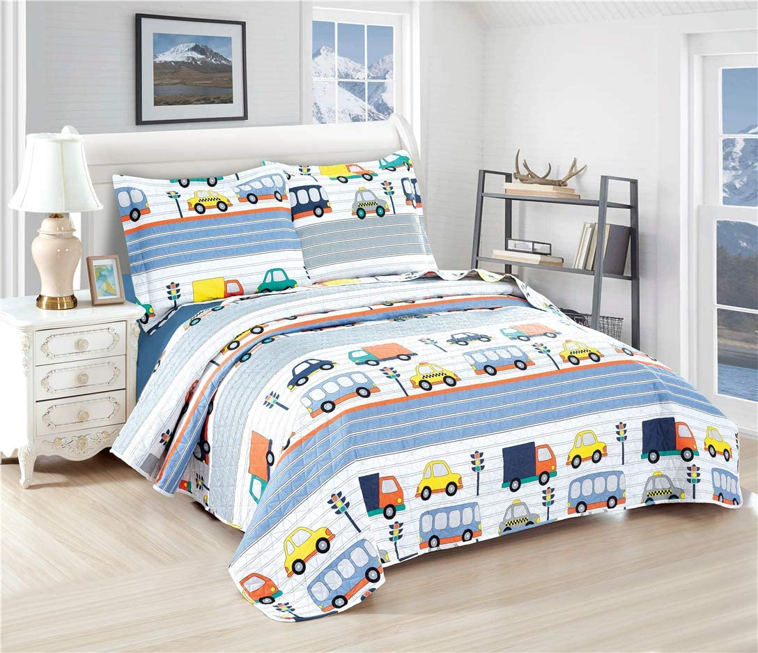 Boys Summer Quilts Car Bus Truck Coverlet Set Twin Size,3Pcs