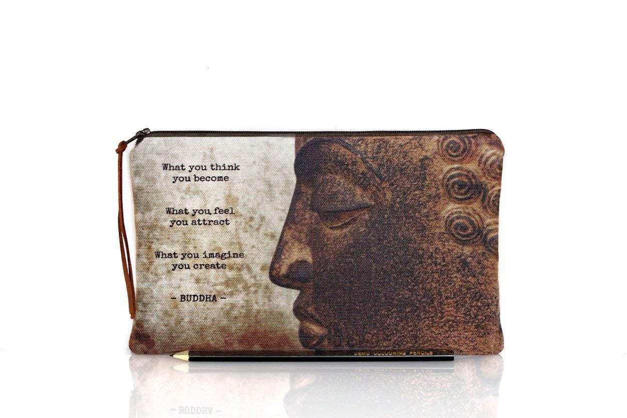 Buddha pencil case, Buddha makeup bag, Quote pouch, Photo zipper pouch, Inspirational, Spiritual, Life quotes, Teacher gift, Back to school