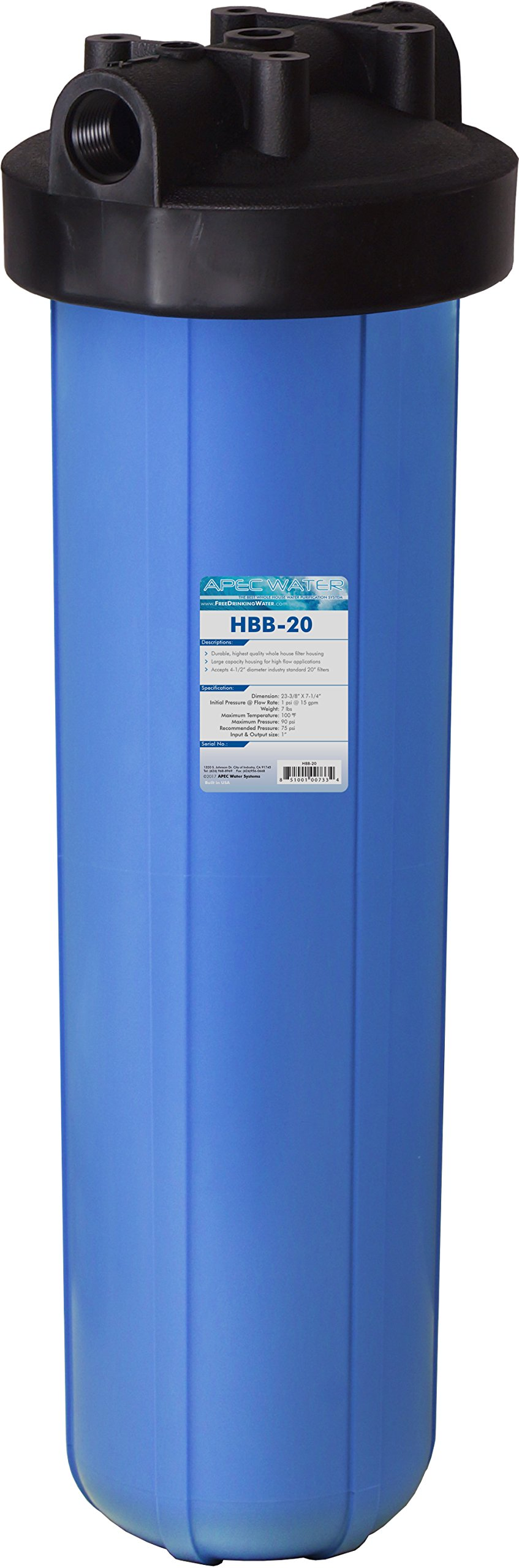APEC Water Systems HBB-20 APEC 20 inch Big Blue Whole House Water Filter Housing 1 inch Inlet/Outlet