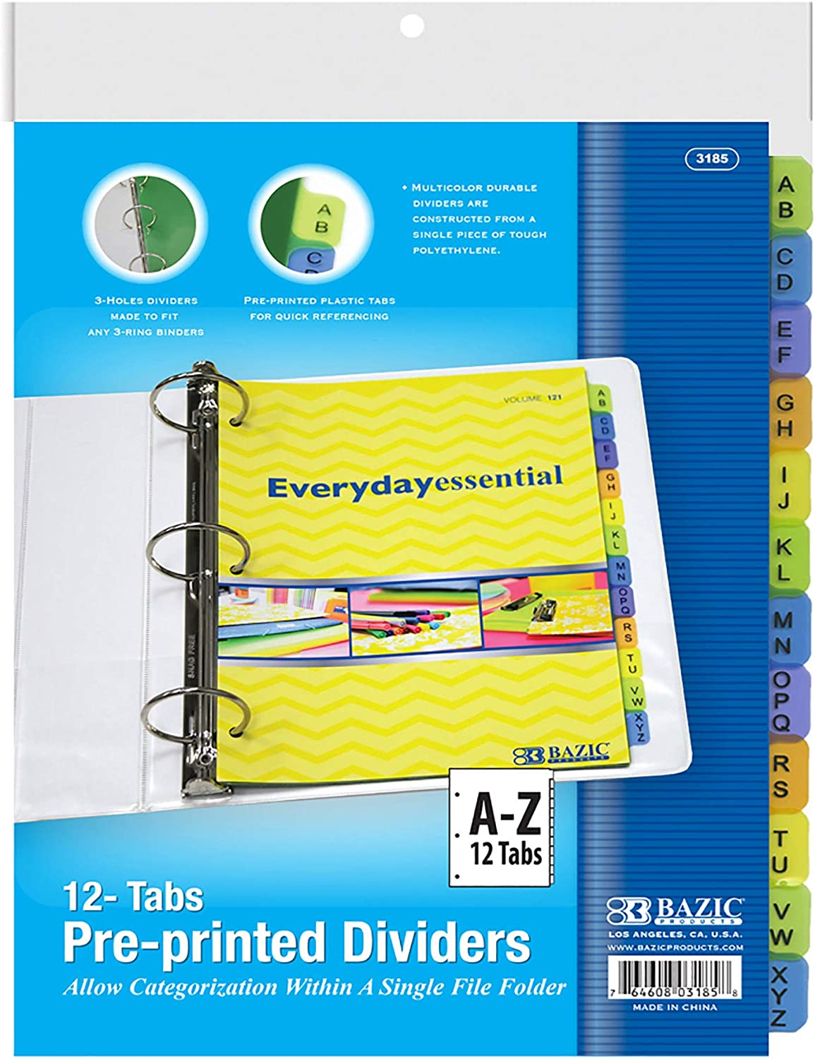 """BAZIC 3-Ring Binder Dividers w/ 12 Preprinted A to Z Letter Tabs, 8. 5"""" x 11"""", for 3 Ring Binders with Tab Page, 3 Hole Punch Plastic Paper Binders Divider (12/Pack), 1-Pack"""