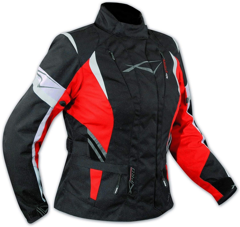 Lady Giacca Moto Donna Impermeabile Termica Sfoderabile Protezioni CE Nero XL
