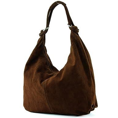 modamoda de - ital. Ledertasche Schultertasche Shopper Damentasche Wildleder Groß T02, Präzise Farbe:Rot modamoda de - Made in Italy