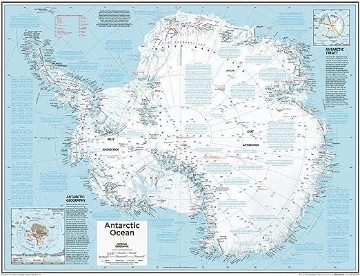 National Geographic: Mapa de pared de la Antártida - 28 x 22