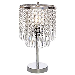 POPILION Elegant Decorative Chrome Living Room Bedside Crystal Table Lamp,Desk Lamp with Crystal Shade for Bedroom Living Room Coffee Table Bookcase