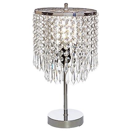 POPILION Elegant Decorative Chrome Living Room Bedside Crystal Table Lamp,Desk  Lamp With Crystal Shade