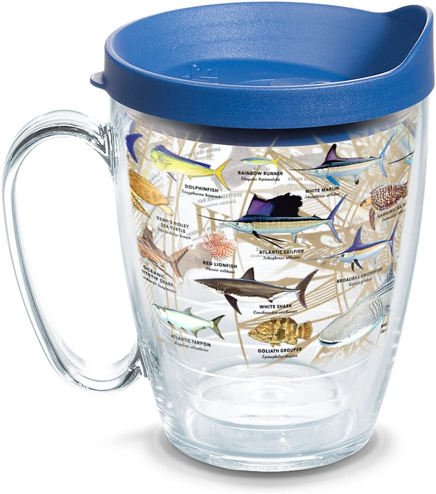 Tervis Guy Harvey - Charts Insulated Tumbler with Wrap and Blue Lid, 16oz Mug, Clear