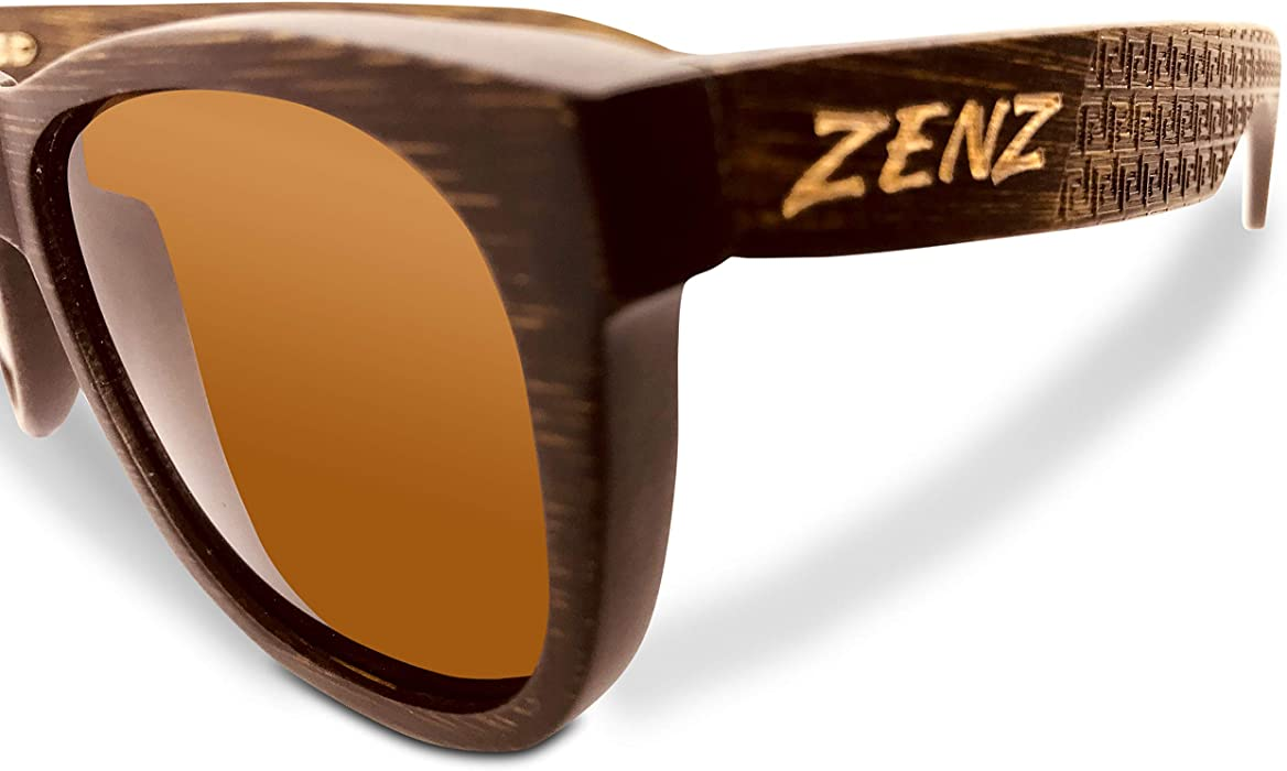 eded9dd7a1f005 ZENZ Polarized Handmade Bamboo Wayfarer Style Sunglasses With Engraved  Greek Wave Design And CAT 3 UV400