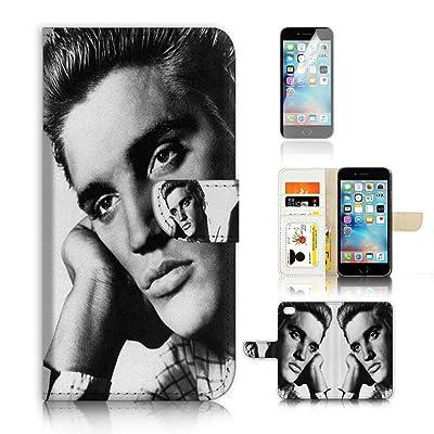 (para iphone 8plus) funda tipo cartera para carcasa de silicona y protector de pantalla Paquete. A20013Elvis Presley