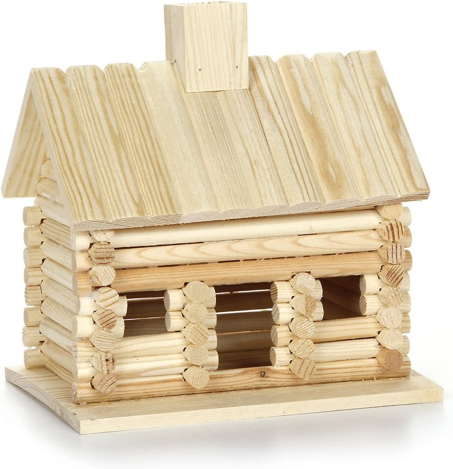 Darice 9190-121 Wood Log Cabin for Craftwork, 7.7 by 5.8 by 7.9-Inch