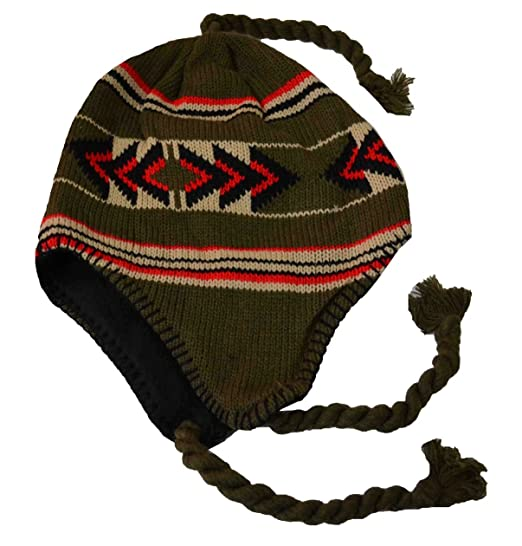 18281fa40ce596 Image Unavailable. Image not available for. Color: SW Men's Peruvian Helmet  Style Earflap Strings Beanie Knit Hat Green ...