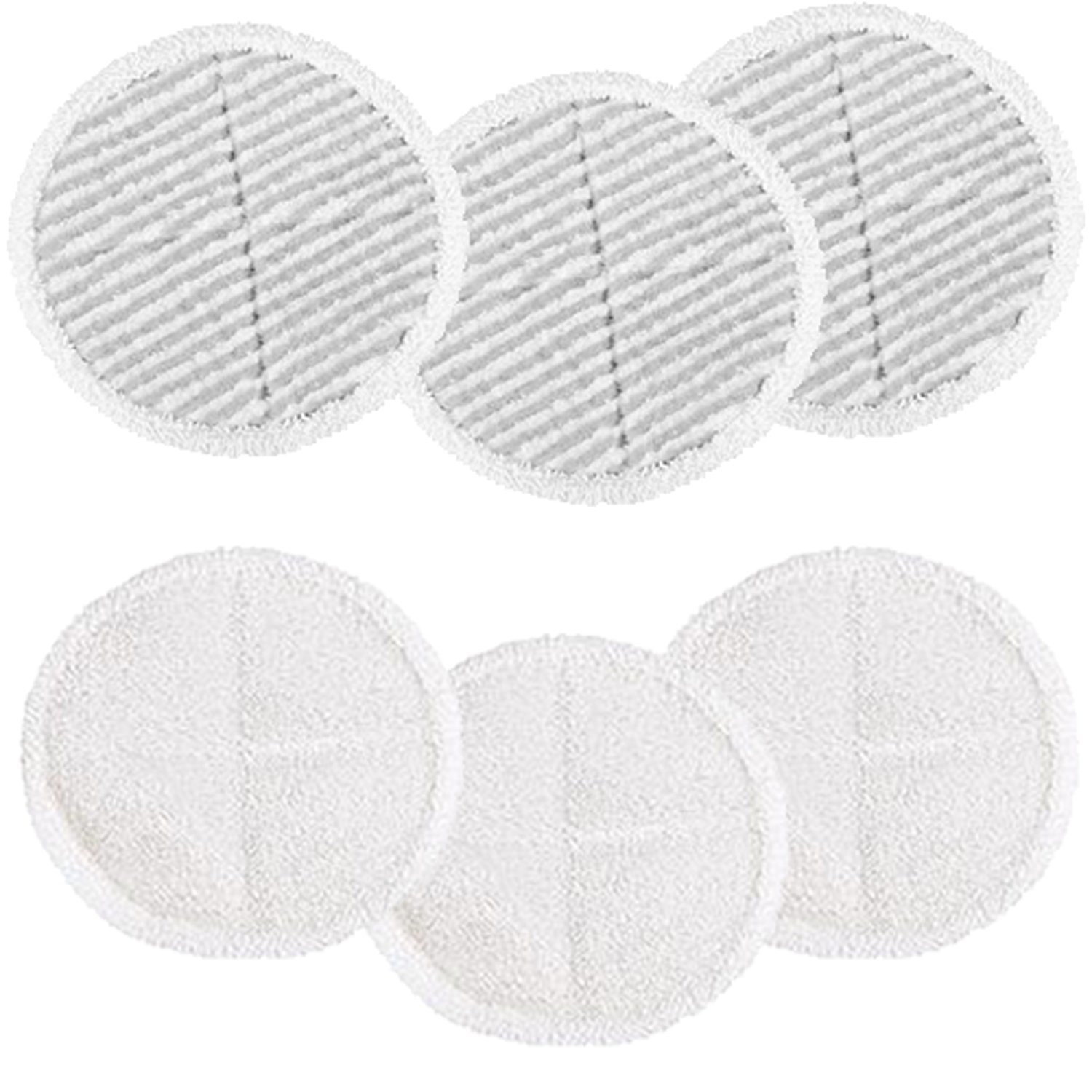 Amyehouse 6 Pack Replacement Pads Compatible for Bissell Spinwave 2039A 2124 2307 Steam Mop (Included 3 Soft Pads+3 Scrubby Pads) by Amyehouse