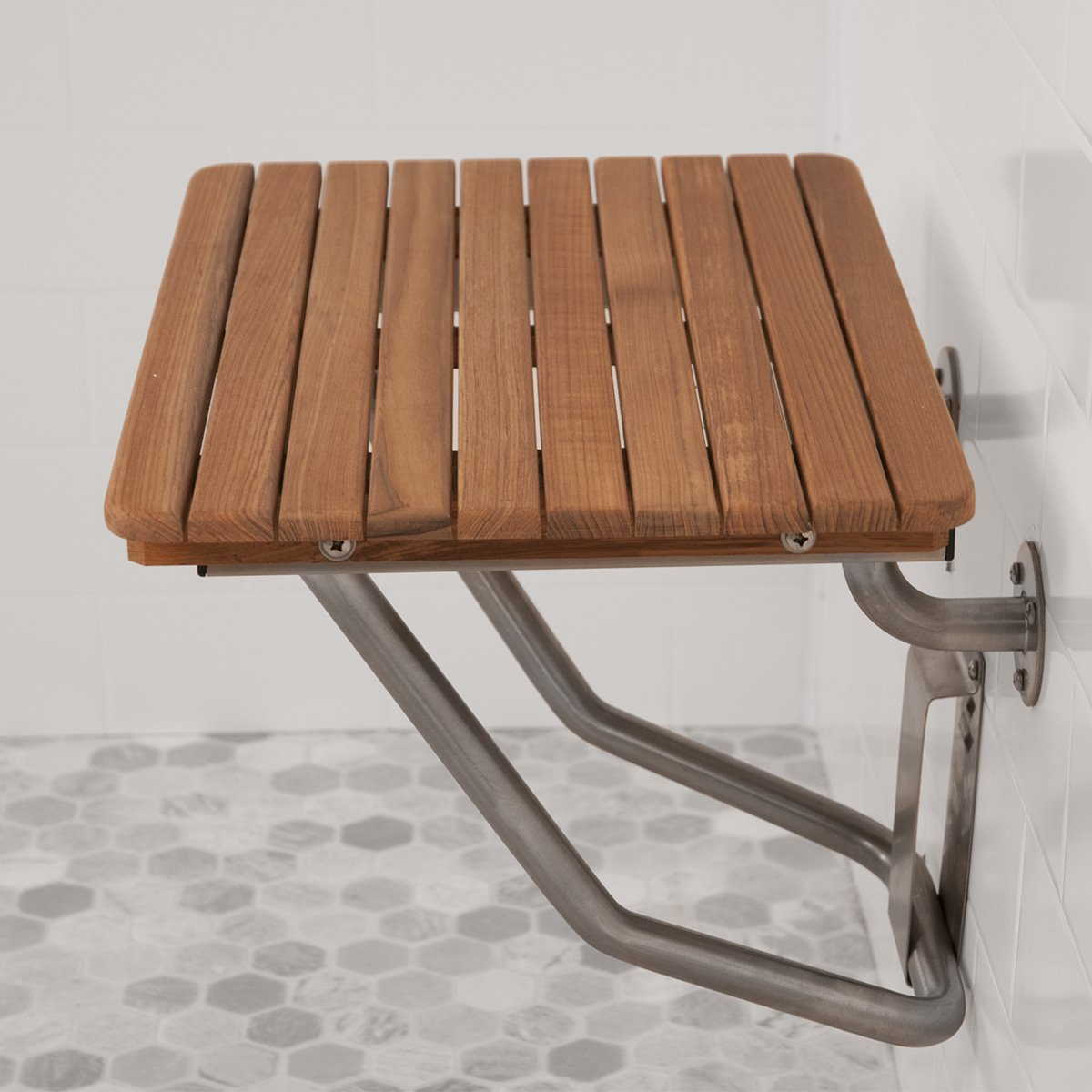 Amazon.com: Plantation Teak ADA Wall Mounted Shower Bench/Seat (24 ...