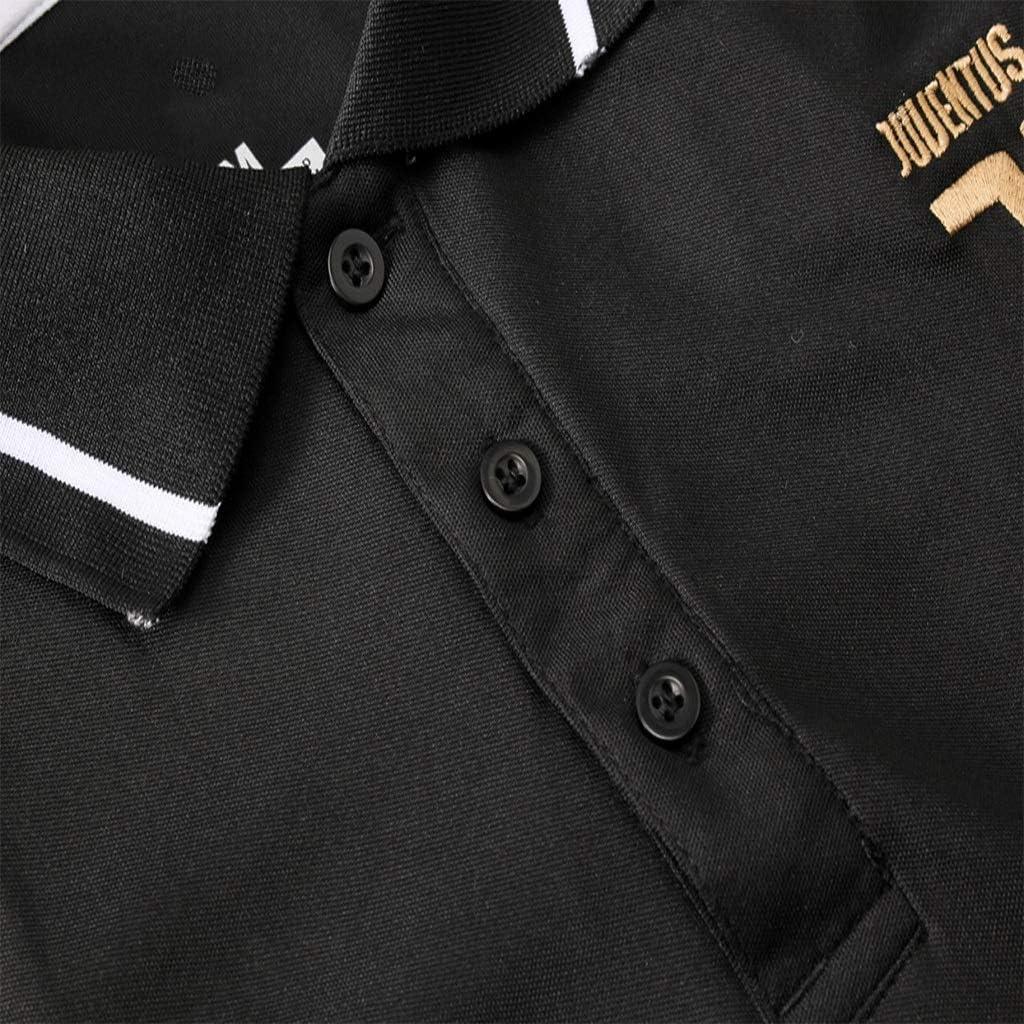 POL164 Jinjuntech Tifosi Maglia Shirt Maniche Corte Polo Club Uomo Calcio Europeo Set Sport Estivi allaperto for Il Tempo Libero Sportivo Nero Traspirante Calcio Vestiti di addestramento