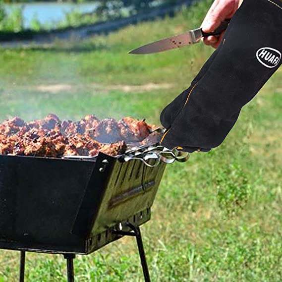 Guantes de horno, HUAFA Cuero resistente al calor guantes para hornear, guantes de barbacoa, guantes para hornear para cocinar, adecuado para cocina, ...