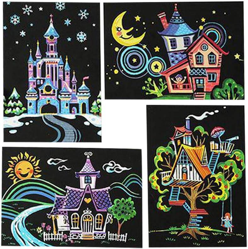 Girls Scratch Art Paper Rainbow Scratch Painting Scratchboard 4 Pieces Scratch /& Sketch Art Paper for Kids /& Adults Art/&Craft Engraving Art Set A Rainbow Scratch Painting Postcards