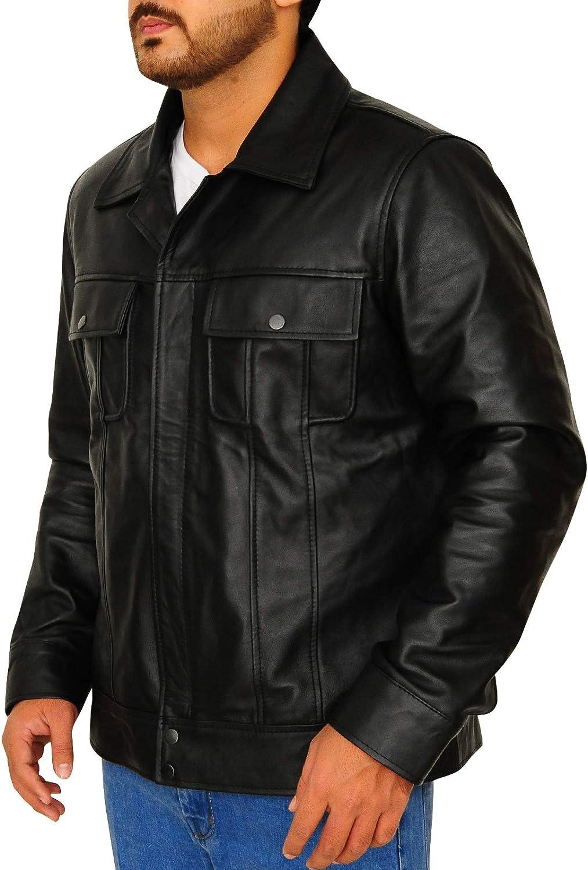 1501210 TrendHoop Mens Black Biker Vintage Flapped Shirt Genuine Lambskin Leather Jacket