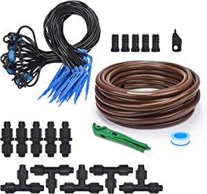 KORAM Drip Arrow Garden Irrigation Kit, 50ft Tubing Drip Watering System with Nozzles Drippers for Patio, Flower Bed, Greenhouse, Lawn, Automatic Water Distribution Kits
