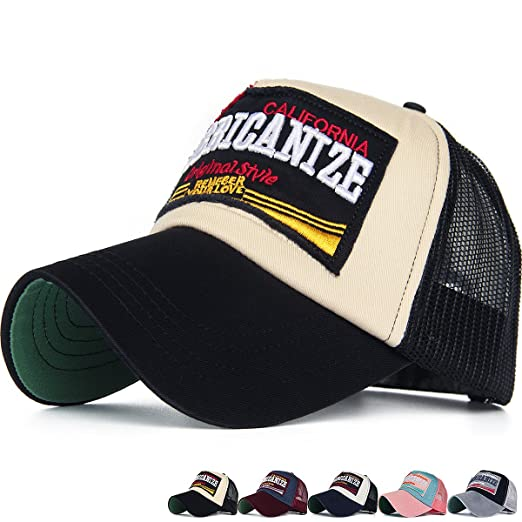 7de6944307146e Image Unavailable. Image not available for. Color: REDSHARKS Mesh Back  Baseball Cap Trucker Hat 3D Embroidered Patch Americanize California Black