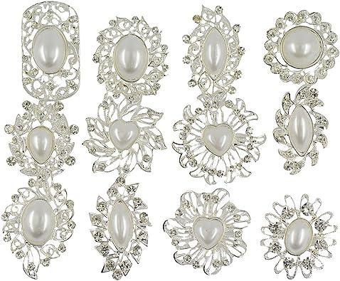 Broche en Strass et Perles Artificielles Bijoux à la Mode pour Mariée