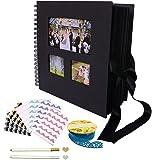 Album Photo papier noir Scrapbooking Album pour Livre d'or de mariage Anniversaire Saint Valentin Scrapbook de mémoire(80 pages,40 feuilles,6 coins de photo, 2 métallique pens,1 ruban adhésif)