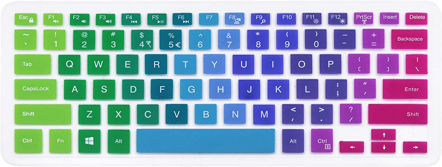 Silicone Keyboard Cover Skin Compatible with 13.3 Dell Inspiron 13 5000 7000 Series 5368 i5378 7370 7373 7368 7378 /& 15.6 Dell Inspiron 15 5568 5578 7568 7570 7573 NO Numeric Keypad Rainbow