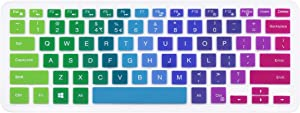 "Silicone Keyboard Cover Skin Compatible with 13.3"" Dell Inspiron 13 5000 7000 Series 5368 i5378 7370 7373 7368 7378 & 15.6"" Dell Inspiron 15 5568 5578 7568 7570 7573 (NO Numeric Keypad) (Rainbow)"