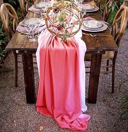 QueenDream wedding linens chiffon 5 Pieces 27u0026quot;x120u0026quot;Coral chiffon wedding table runner Chiffon & Amazon.com: QueenDream wedding linens chiffon 5 Pieces 27