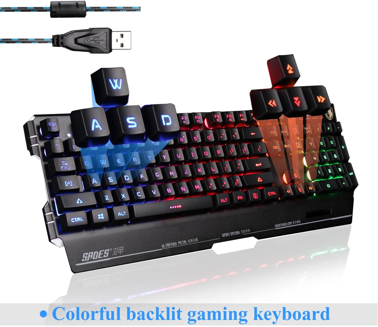 SADES Blademail K8 Wired Gaming Keyboard for Pro PC Gamers, 19 Non-Conflict Keys, Metal Base, Colorful Blacklight Black