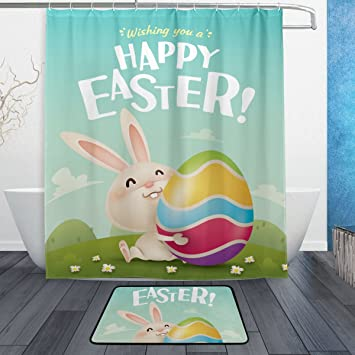 U LIFE Happy Easter Cute Rabbit Floral Flowers Eggs Shower Curtain Set And  Bathroom Area Rugs
