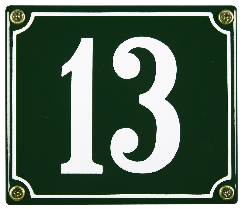 Buddel Bini Wetterfestes Emaille Hausnummernschild 13 12 x 14 cm, sofort lieferbar, grü n hn-114