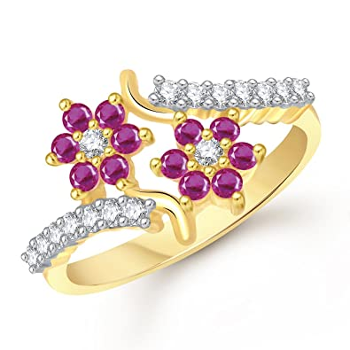 Buy Meenaz Jewellery Gold Plated Red Rings For Girls Women In