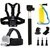 dOvOb GoPro Accessories Kit Included Selfie Stick Handheld Monopod + Head Strap Mount + Chest Belt Strap Mount + Floating Grip Mount for Action Camera AKASO/APEMAN/Campark/Victure/Vemont/MUSON