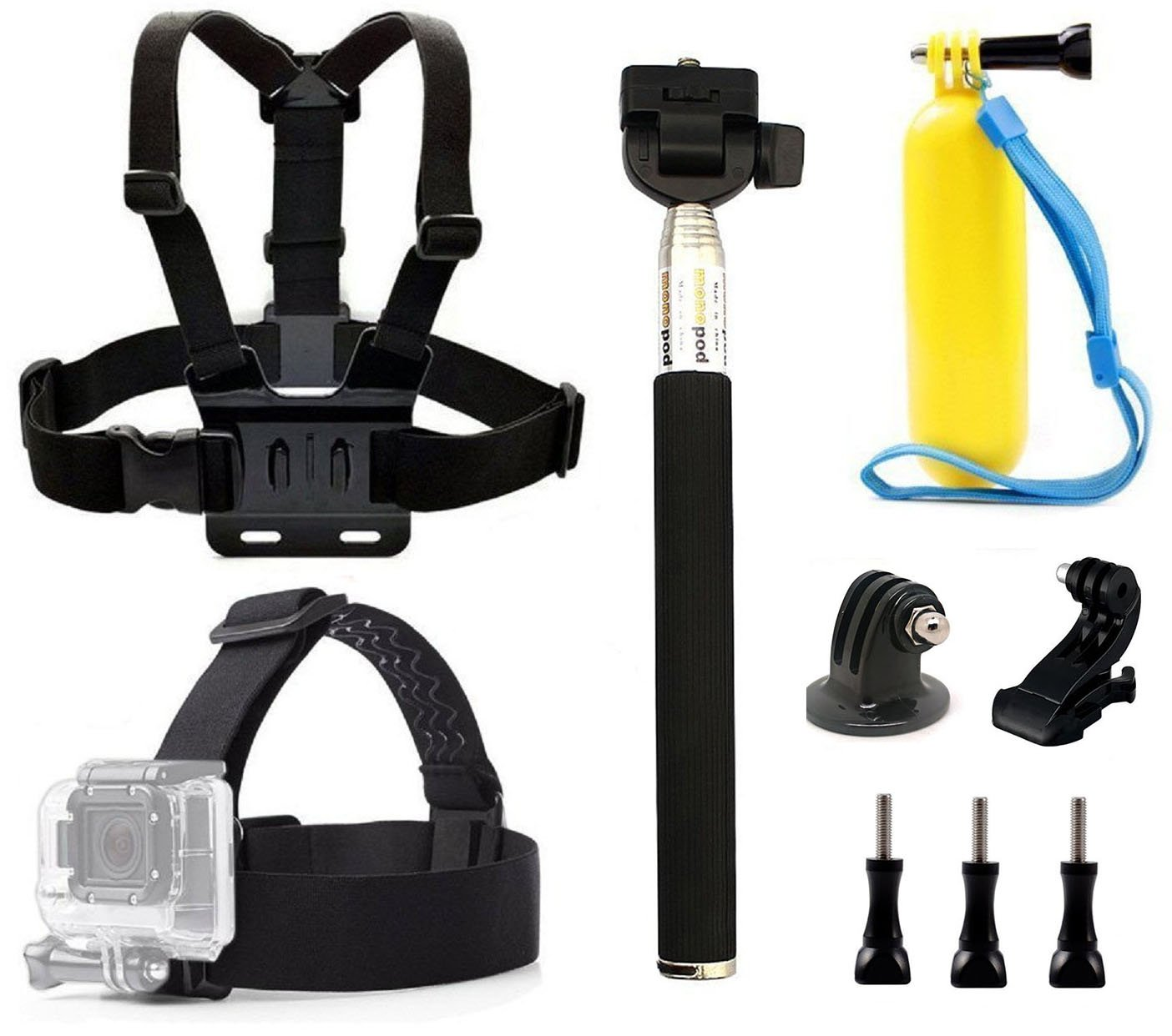 dOvOb GoPro Accessories Kits included Head Strap + Chest Belt Strap +Handle Monopod +Floating Hand Grip for Gopro Hero 6/YI 4K/AKASO V50/Campark/Crosstour/Dbpower/APEMAN/Victure/Lightdow/vikeepro