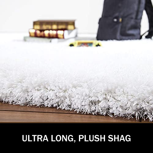 LOCHAS Luxury White Shag Rug Plush Area Rugs 4×6 Feet, Super Soft Bedroom Rugs, Thick Modern Fuzzy Carpet with 3 Inch High Pile for Living Room Indoor Home Floor Bed