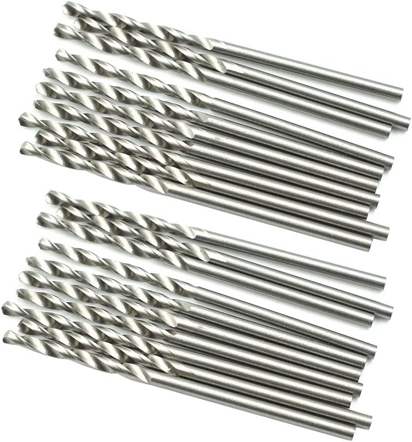 HONJIE 2mm Twist Drill Bit High Speed Steel Hole Drill Bit for Wood Soft Metal Plastic-Sliver Tone 20pcs