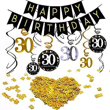 INTVN 30 cumpleaños Colgar Remolino decoración de Techo Adornos de espirales , & Número 30 Mesa Confeti Feliz cumpleaños Banner para 30 años Fiesta ...